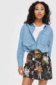 MOTO Floral Crystal Denim Skirt