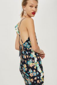 Mixed pansy ruffle slip dress